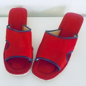 Vintage 60s Red Sandals Wedge Cork Heel Cut Outs 7